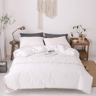 傲蕾良品正宗100%特级双宫桑蚕丝被专版绣花蕾丝全棉夏被冬被 夏被:200X230cm 白色