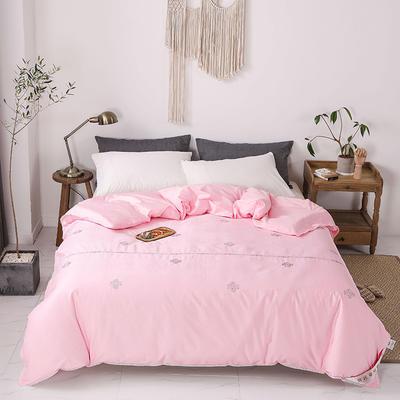 傲蕾良品正宗100%特级双宫桑蚕丝被60支全棉绣花婚庆冬被 夏被:200X230cm 粉色