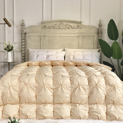 傲蕾良品国产80支柔赛丝扭花95白鹅绒被冬被朵朵绒羽绒被 200X230cm 金色