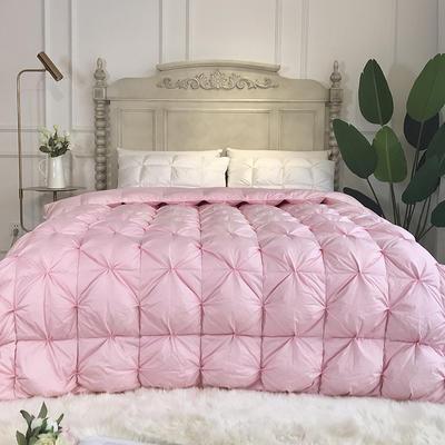 傲蕾良品国产80支柔赛丝扭花95白鹅绒被冬被朵朵绒羽绒被 200X230cm 粉色