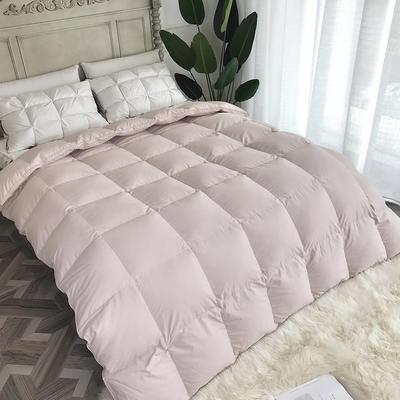 傲蕾良品高端国产120支微磨绒95白鹅绒被朵朵绒冬被羽绒被 200X230cm 粉色