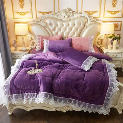 2019新款水晶绒羽丝棉冬被被子被芯 200X230cm6斤 紫色