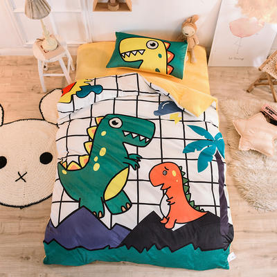 2019幼儿园被子三件套宝宝绒儿童卡通单人床被套水晶绒宝宝绒三件套秋冬婴儿床上用品 1.2m床单款三件套 恐龙