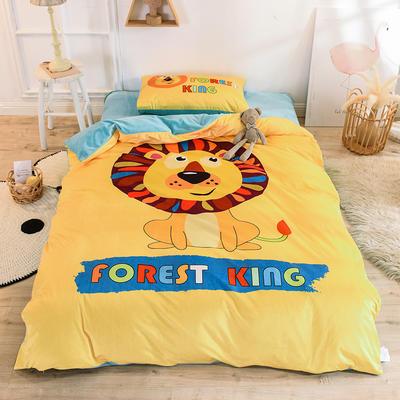 2019幼儿园被子三件套宝宝绒儿童卡通单人床被套水晶绒宝宝绒三件套秋冬婴儿床上用品 1.2m床单款三件套 狮子
