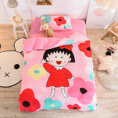 2019幼儿园被子三件套宝宝绒儿童卡通单人床被套水晶绒宝宝绒三件套秋冬婴儿床上用品 1.2m床单款三件套 丸子