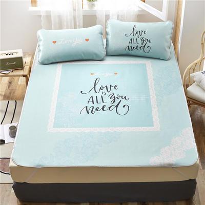 夏季冰丝凉席可水洗可折叠宿舍单人空调席三件套 180*200cm 爱恋-绿