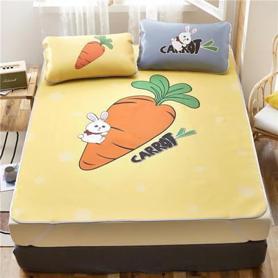 夏季冰丝凉席可水洗可折叠宿舍单人空调席三件套 150*200cm 萝卜兔-黄