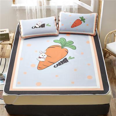 夏季冰丝凉席可水洗可折叠宿舍单人空调席三件套 150*200cm 萝卜兔-灰