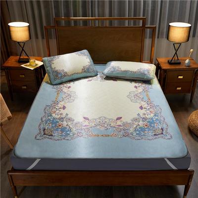 夏季冰丝凉席可水洗可折叠宿舍单人空调席三件套 150*200cm 绿茵