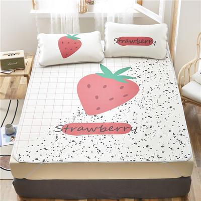 夏季冰丝凉席可水洗可折叠宿舍单人空调席三件套 180*200cm 奶油草莓