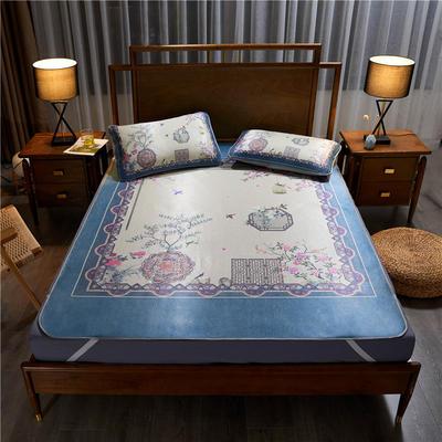 夏季冰丝凉席可水洗可折叠宿舍单人空调席三件套 150*200cm 鸟语花香