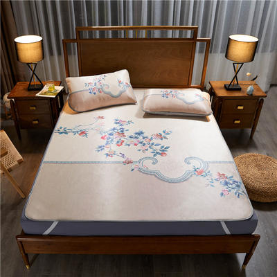 夏季冰丝凉席可水洗可折叠宿舍单人空调席三件套 150*200cm 石榴