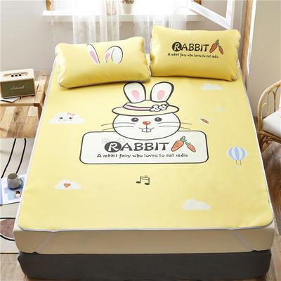 夏季冰丝凉席可水洗可折叠宿舍单人空调席三件套 150*200cm 香橙兔-黄