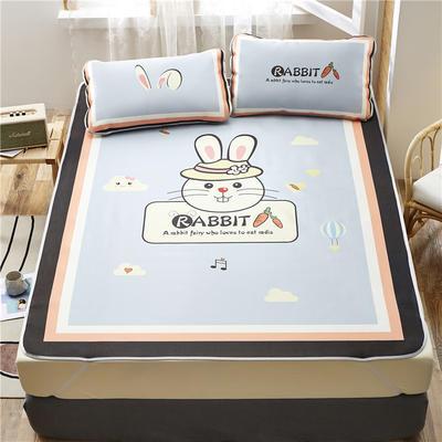 夏季冰丝凉席可水洗可折叠宿舍单人空调席三件套 180*200cm 香橙兔-灰