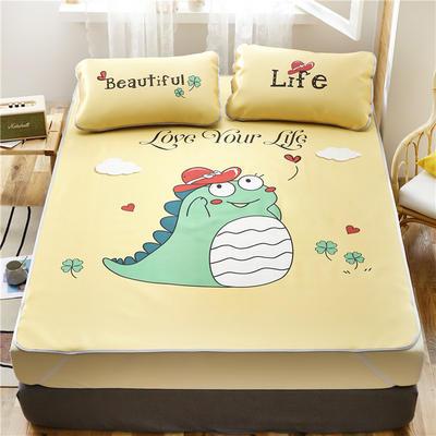 夏季冰丝凉席可水洗可折叠宿舍单人空调席三件套 180*200cm 小恐龙-黄