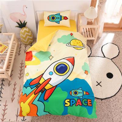 2020新款全棉儿童三件套 婴儿床三件套(被套120*150cm) 小火箭