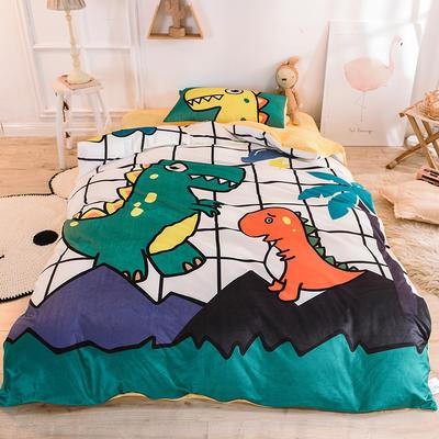 2020幼儿园被子三件套宝宝绒儿童卡通单人床被套水晶绒宝宝绒三件套秋冬婴儿床上用品 儿童床(被套120*150cm) 恐龙