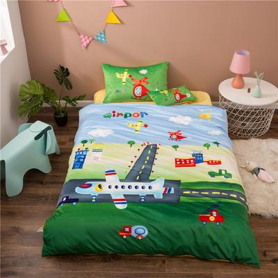 2020幼儿园被子三件套宝宝绒儿童卡通单人床被套水晶绒宝宝绒三件套秋冬婴儿床上用品 1.2m床单款三件套 小飞机