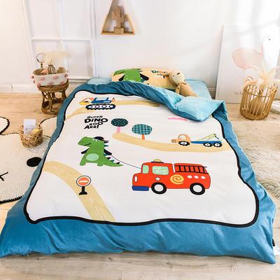 2020幼儿园被子三件套宝宝绒儿童卡通单人床被套水晶绒宝宝绒三件套秋冬婴儿床上用品 1.2m床单款三件套 小汽车