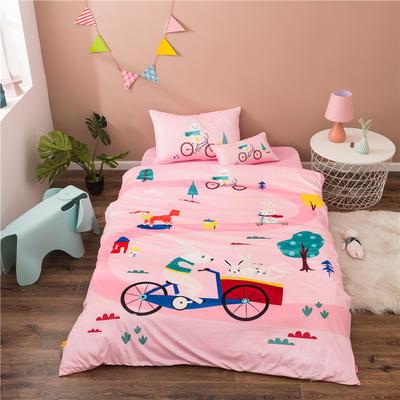 2020幼儿园被子三件套宝宝绒儿童卡通单人床被套水晶绒宝宝绒三件套秋冬婴儿床上用品 1.2m床单款三件套 小兔子