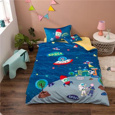 2020幼儿园被子三件套宝宝绒儿童卡通单人床被套水晶绒宝宝绒三件套秋冬婴儿床上用品 1.2m床单款三件套 宇宙