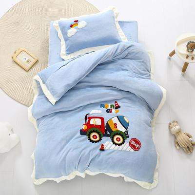 2020新款珊瑚绒儿童被套牛奶绒幼儿园被子毛巾绣花三件套 儿童床(被套120*150cm) 工程车