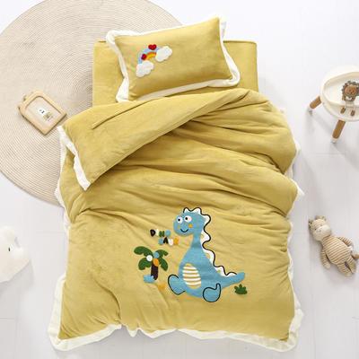 2020新款珊瑚绒儿童被套牛奶绒幼儿园被子毛巾绣花三件套 儿童床(被套120*150cm) 恐龙