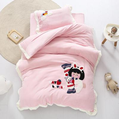 2020新款珊瑚绒儿童被套牛奶绒幼儿园被子毛巾绣花三件套 儿童床(被套120*150cm) 奶糖女孩