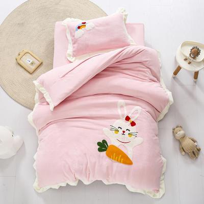 2020新款珊瑚绒儿童被套牛奶绒幼儿园被子毛巾绣花三件套 儿童床(被套120*150cm) 兔子