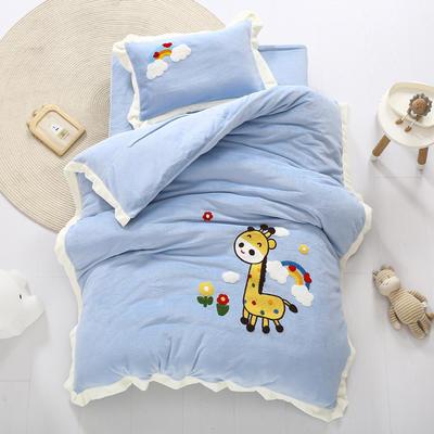 2020新款珊瑚绒儿童被套牛奶绒幼儿园被子毛巾绣花三件套 儿童床(被套120*150cm) 小鹿