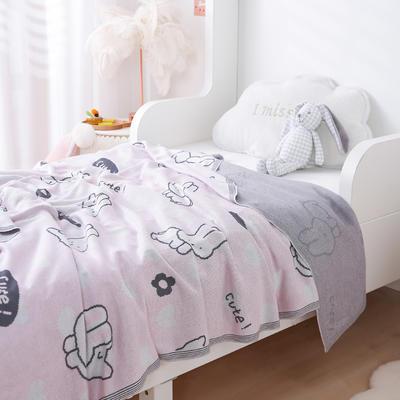 2021新款婴儿夏季竹纤维小盖毯儿童空调凉毯夏凉被针织被子儿童夏被卡通夏被 150cmX200cm 小兔兔