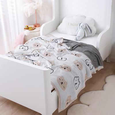 2021新款婴儿夏季竹纤维小盖毯儿童空调凉毯夏凉被针织被子儿童夏被卡通夏被 150cmX200cm 小熊熊