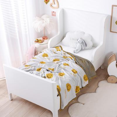 2021新款婴儿夏季竹纤维小盖毯儿童空调凉毯夏凉被针织被子儿童夏被卡通夏被 150cmX200cm 笑脸