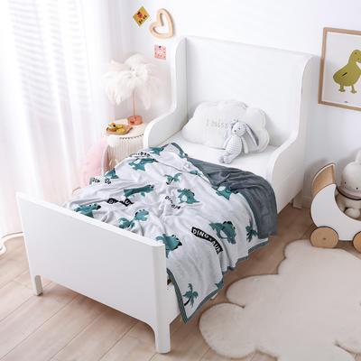 2021新款婴儿夏季竹纤维小盖毯儿童空调凉毯夏凉被针织被子儿童夏被卡通夏被 150cmX200cm 小恐龙