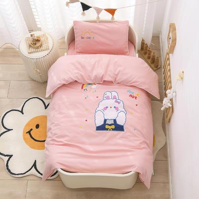2021新款A类全棉贴布绣幼儿园被子三件套 儿童套件 单被套120*150cm 彩虹兔兔