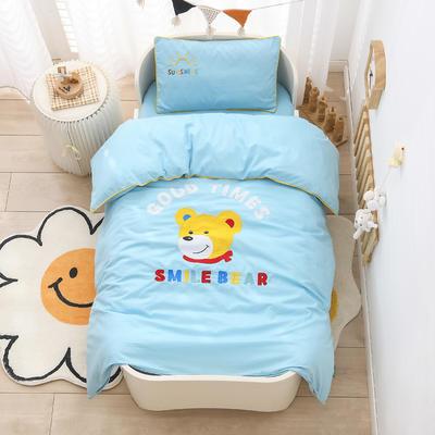 2021新款A类全棉贴布绣幼儿园被子三件套 儿童套件 单被套120*150cm 微笑小熊