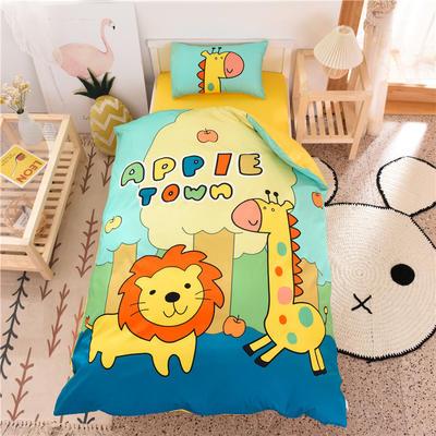 2021新款A类数码印花大版幼儿园儿童三件套 儿童床被套120*150cm 动物园