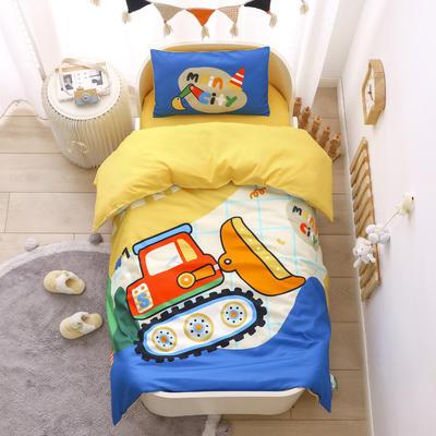 2021新款A类数码印花大版幼儿园儿童三件套 儿童床被套120*150cm 挖土机