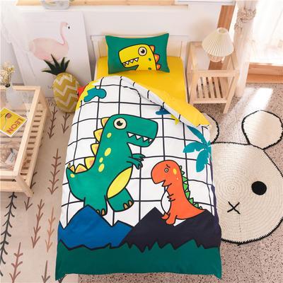2021新款A类数码印花大版幼儿园儿童三件套 儿童床被套120*150cm 小恐龙