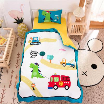 2021新款A类数码印花大版幼儿园儿童三件套 儿童床被套120*150cm 小汽车