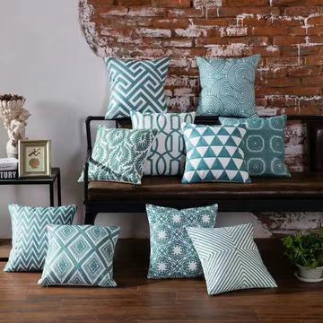 禾木家居 纯色简约几何沙发抱枕特色毛线绣花纯蓝色靠垫 45*45cm(抱枕套) 圈圈