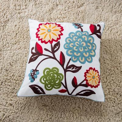 禾木家居 特种绣花靠垫 半绣花卉 抱枕套 素香秋兰