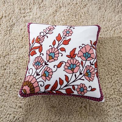 禾木家居 特种绣花靠垫 半绣花卉 抱枕套 香榭丽