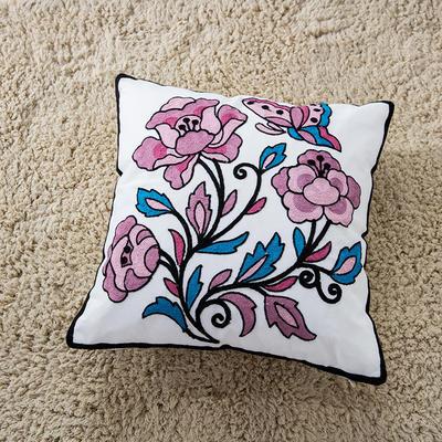 禾木家居 特种绣花靠垫 半绣花卉 抱枕套 情人花