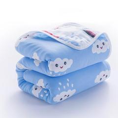 六层纱布毛巾被 50x80cm枕巾 90x100cm 雨滴笑脸蓝