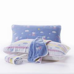 六层纱布枕巾50x80cm 雨滴笑脸粉