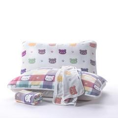 六层纱布枕巾50x80cm 萌萌熊