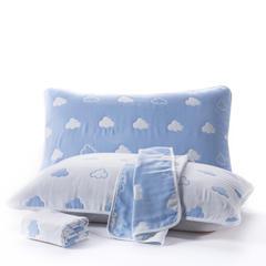 六层纱布枕巾50x80cm 云朵蓝