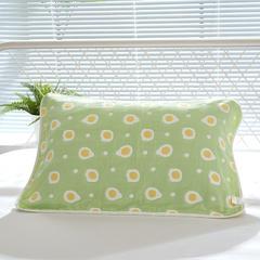 全棉六层纱布枕巾50x80cm 煎蛋绿