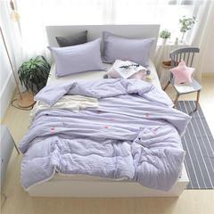 水洗棉舒适绣花被系列(火烈鸟) 200*230cm 火烈鸟-紫
